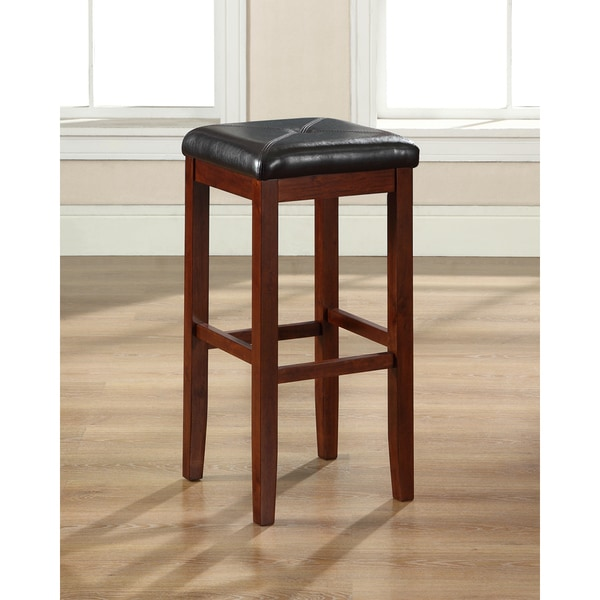 Shop Upholstered Cherry 29 Inch Square Seat Bar Stools