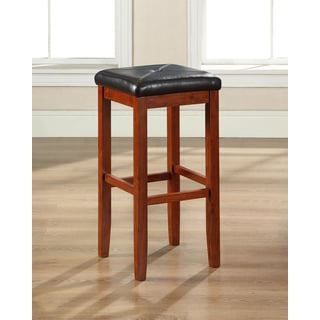 Cherry Finish Upholstered Square Seat Bar Stool with 29-inch Seat Height (Set of Two)