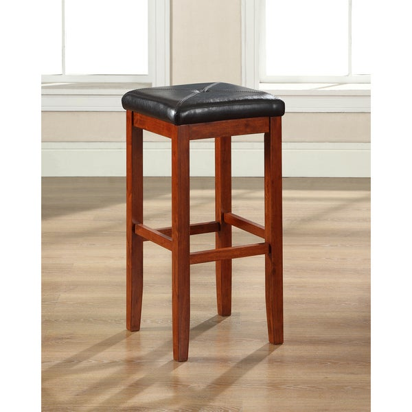 Shop Cherry Finish Upholstered Square Seat Bar Stool With