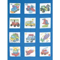 "Stamped White Nursery Quilt Blocks 9""X9"" 12/Pkg-Transportation"