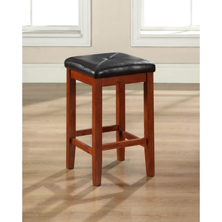 Classic Cherry Finish Upholstered Square Seat Bar Stool with 24-inch Seat Height (Set of Two)