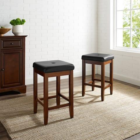 Upholstered Square 24-inch Bar Stool (Set of 2)- Mahogany Finish - N/A