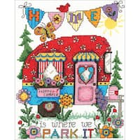 """Happy Camper Counted Cross Stitch Kit-6.75""""X8.75"""" 14 Count"""