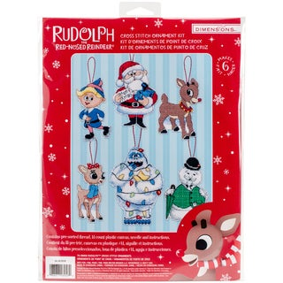 """Rudolph Ornaments Plastic Canvas Cross Stitch Kit-5.25"""" Tall 14 Count Set Of 6"""