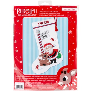 """Rudolph Stocking Counted Cross Stitch Kit-16"""" Long 14 Count"""