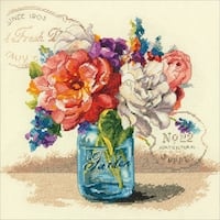 "Garden Bouquet Counted Cross Stitch Kit-12""X12"" 14 Count"