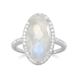 Sterling Silver Rainbow Moonstone Cubic Zirconia Halo Engagement Ring - White