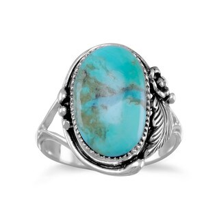 Sterling Silver Oval Reconstituted Turquoise Floral Design Ring