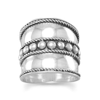 Sterling Silver Bali Oxidized Beaded Rope Wide Band Ring - White