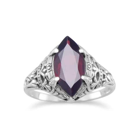 Sterling Silver Oxidized Marquise Garnet Antique-style Ring