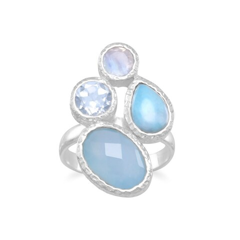Sterling Silver Blue Chalcedony, Larimar, Blue Topaz and Rainbow Moonstone Hammered Geometric Ring