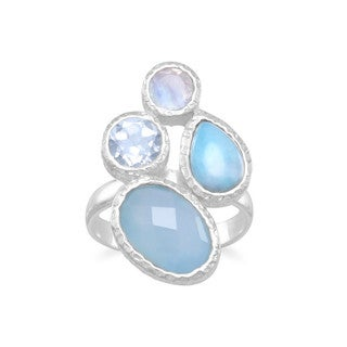 Sterling Silver Blue Chalcedony Larimar Blue Topaz And Rainbow Moonstone Hammered Geometric Ring