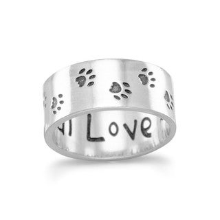 Sterling Silver Oxidized Paw Print 'Unconditional Love' Ring - White
