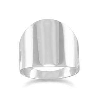 Solid Sterling Silver High-polish Tailored Flat Cigar Band Ring - White