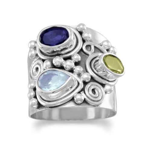 Sterling Silver Peridot, Iolite, and Blue Topaz Antiqued Ring - White