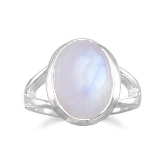 Sterling Silver Rainbow Moonstone Bezel Ring - White