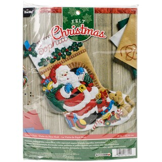 "Santa's Visit Stocking Felt Applique Kit-18"" Long"