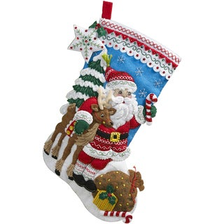 "Nordic Santa Stocking Felt Applique Kit-18"" Long"