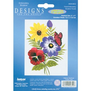 "Floral Embroidery Kit-5""X7"" Stitched In Floss"