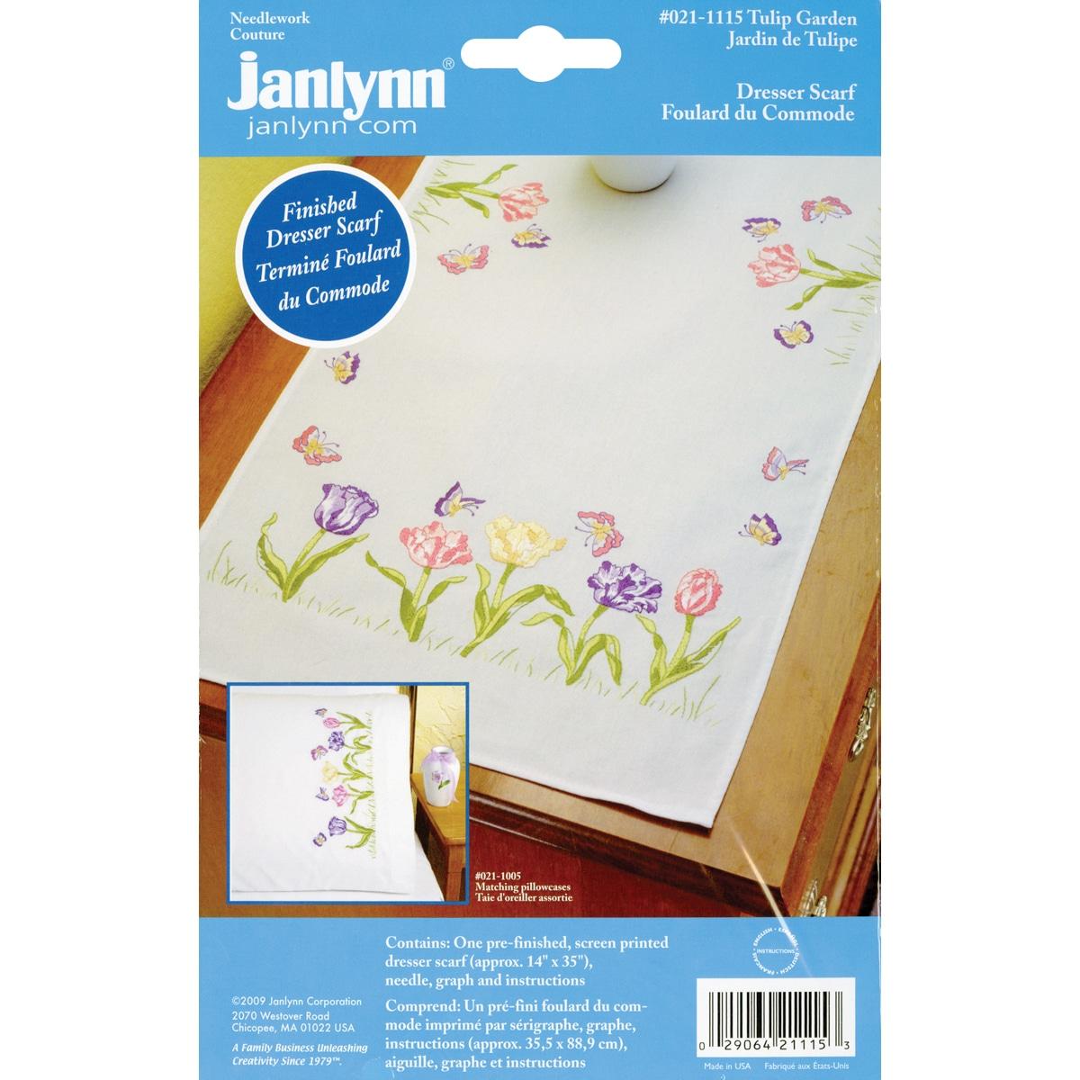 "Janlynn Stamped Embroidery Dresser Scarf 14""X35""-Tulip Ga..."