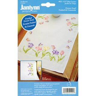 """Stamped Embroidery Dresser Scarf 14""""X35""""-Tulip Garden"""