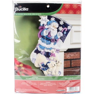 "Arctic Santa Stocking Felt Applique Kit-18"" Long"
