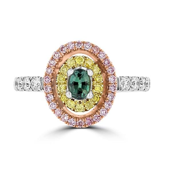 La Vita Vital 18K White & Rose Gold, Fine Brazilian Alexandrite 0.30cts & Diamond 0.54cts TDW (SI1-VS, G-H) Ring