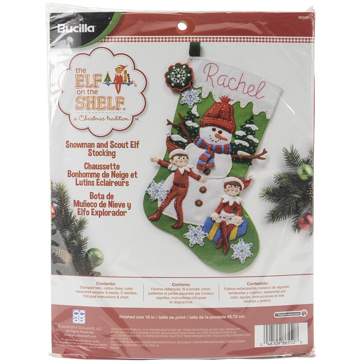 "Bucilla Elf On The Shelf Stocking Felt Applique Kit-18"" L..."