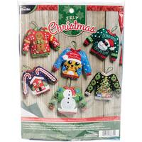 Ugly Sweater Ornaments Felt Applique Kit-6/Pkg