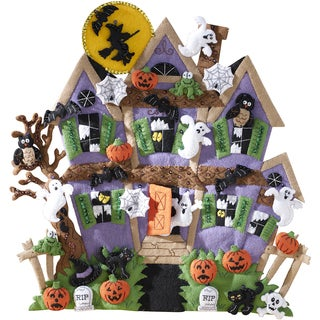 "Haunted House Wall Hanging Felt Applique Kit-18""X18"""