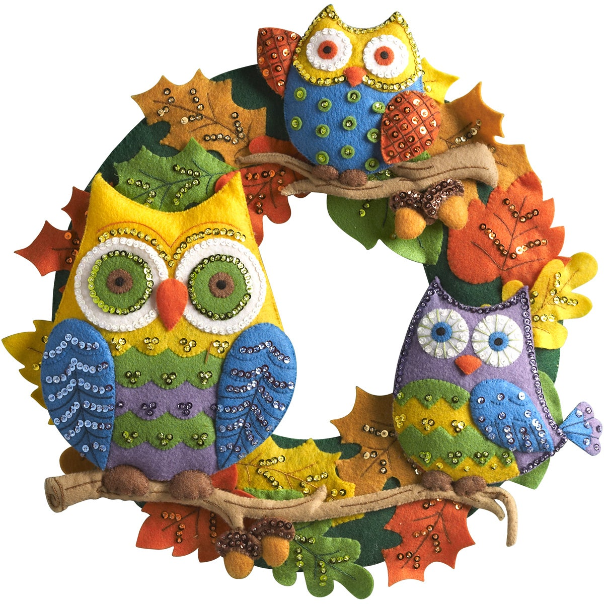 "Bucilla Owl Wreath Felt Applique Kit-17"" Round (17"" Round)"
