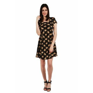 24/7 Comfort Apparel Cappuccino Florals Dress