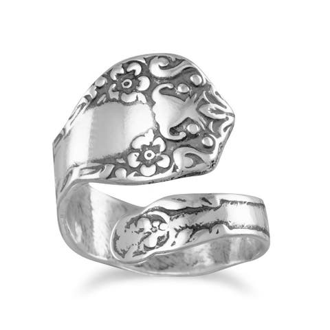 Sterling Silver Oxidized Floral Adjustable Spoon Ring