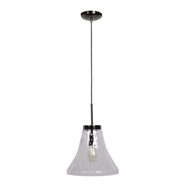 Access Lighting Simplicite 1-light Black Chrome Bell Pendant with Clear Glass Shade
