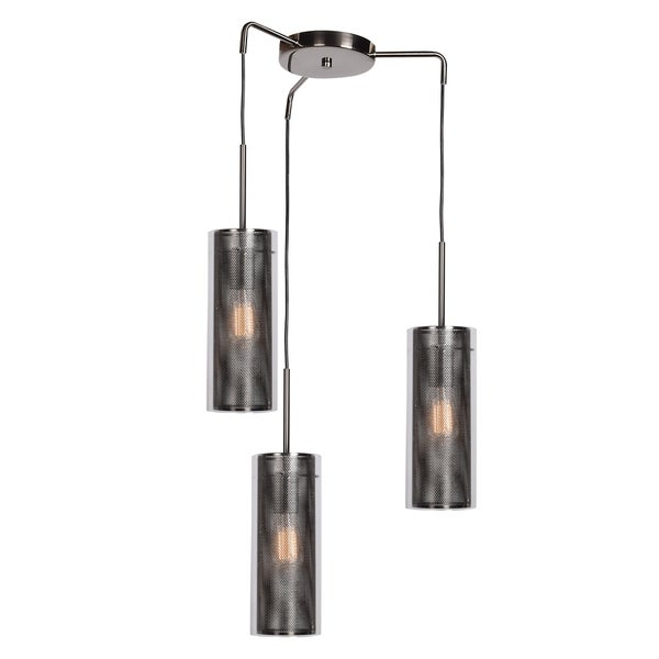 Access Lighting Multis 3-light Black Chrome Encaged Cluster Pendant with Metal Mesh/Clear Glass Shade