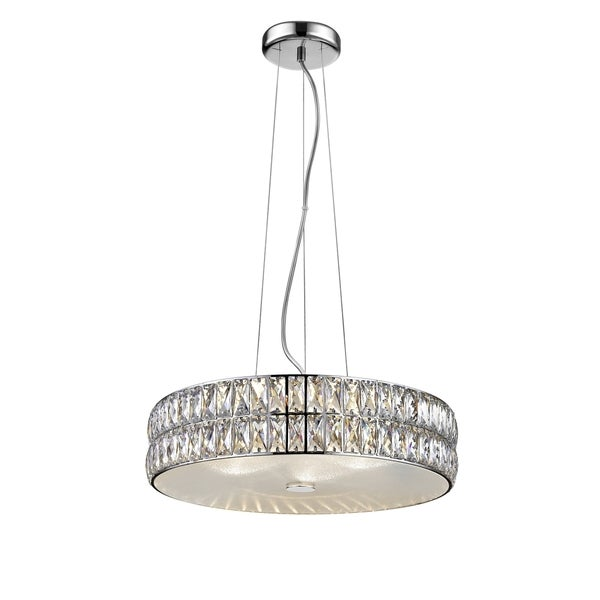 Access Lighting Magari 18-inch Mirrored Stainless Steel Crystal Pendant with Crystal Glass Shade