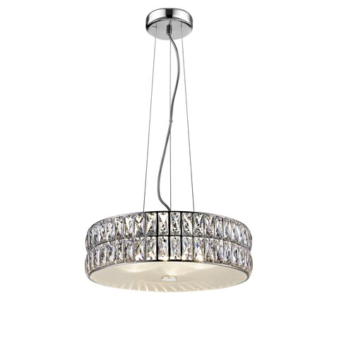 Access Lighting Magari 15-inch Mirrored Stainless Steel Crystal Pendant with Crystal Glass Shade