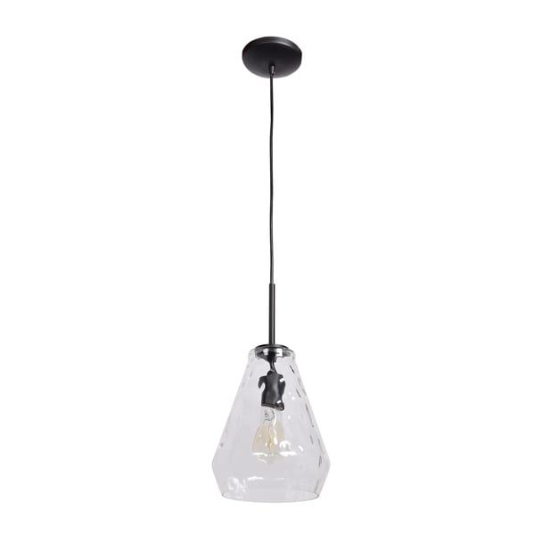 Access Lighting Simplicite Black Diamond Pendant with Clear Wavy Glass Shade