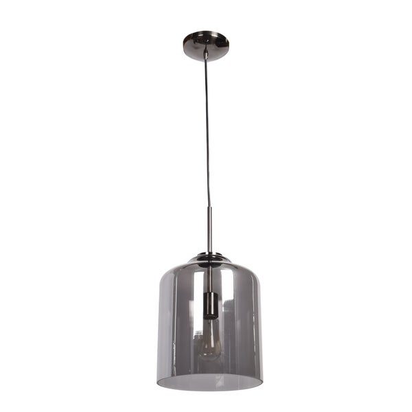 Access Lighting Simplicite Black Chrome Cylinder Pendant with Smoke Mirror Glass Shade