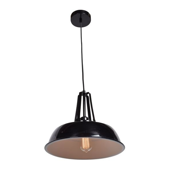 Access Lighting Nostalgia 1-light Bell Dome Pendant with Shiny Black Outer/White Inner Shade