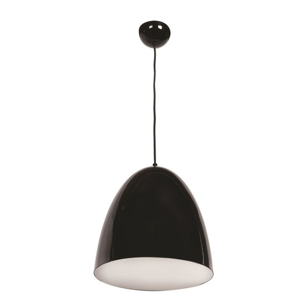 Access Lighting Nostalgia 1-light Round Dome Pendant with Shiny Black Outer/White Inner Shade