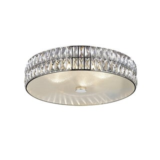 Access Lighting Magari 18-inch Mirrored Stainless Steel Crystal Flush Mount with Crystal Glass Shade