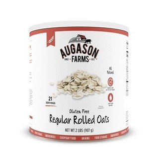 Augason Farms Gluten Free Regular Rolled Oats 32 oz No. 10 Can