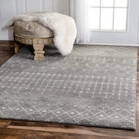 "The Curated Nomad Ashbury Beaded Moroccan Dark Grey Rug - 6'7"" x 9'"
