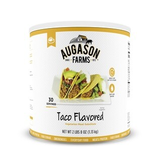 Augason Farms Taco Flavored Vegetarian Meat Substitute 40 oz #10 Can