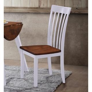 White/Brown Hardwood Slat-Back Dining Chairs (Set of 2)