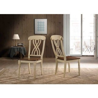 Traditional Country Style Off-white/ Oak Dining Chairs (Set of 2)