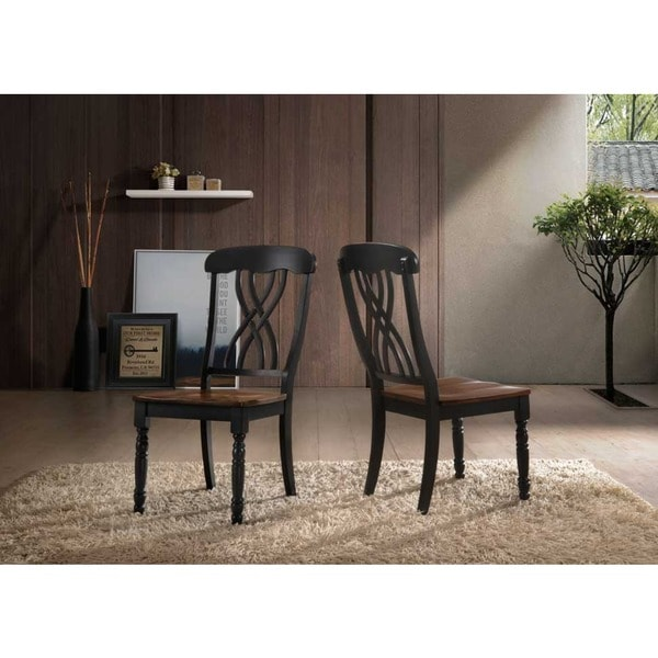 Traditional Country Style Two-tone Dining Chairs (Set of 2). Opens flyout.