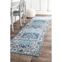 nuLOOM Traditional Persian Fancy Aqua Area Runner Rug (2'8 x 8') - 2' 8 x 8'