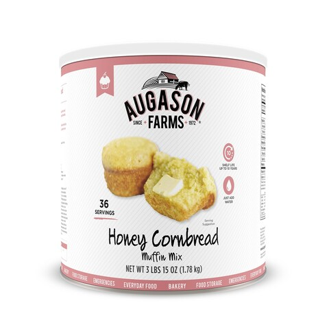 Augason Farms Honey Cornbread Muffin Mix 56 oz No. 10 Can